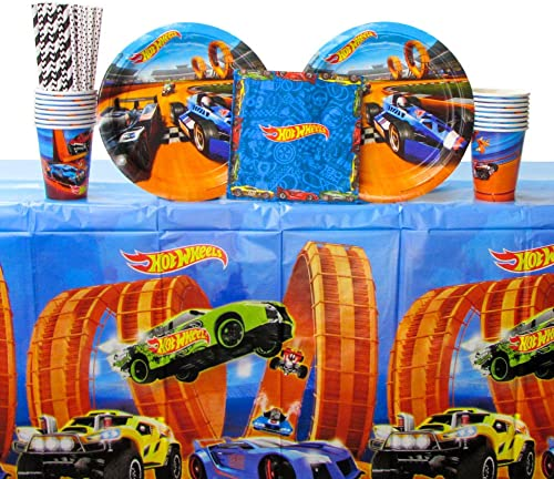Hot Wtalons Wild Racer Party Pack for 16 Guests - pailles, Lunch Plates, Luncheon Napkins, Cups, and Table Cover