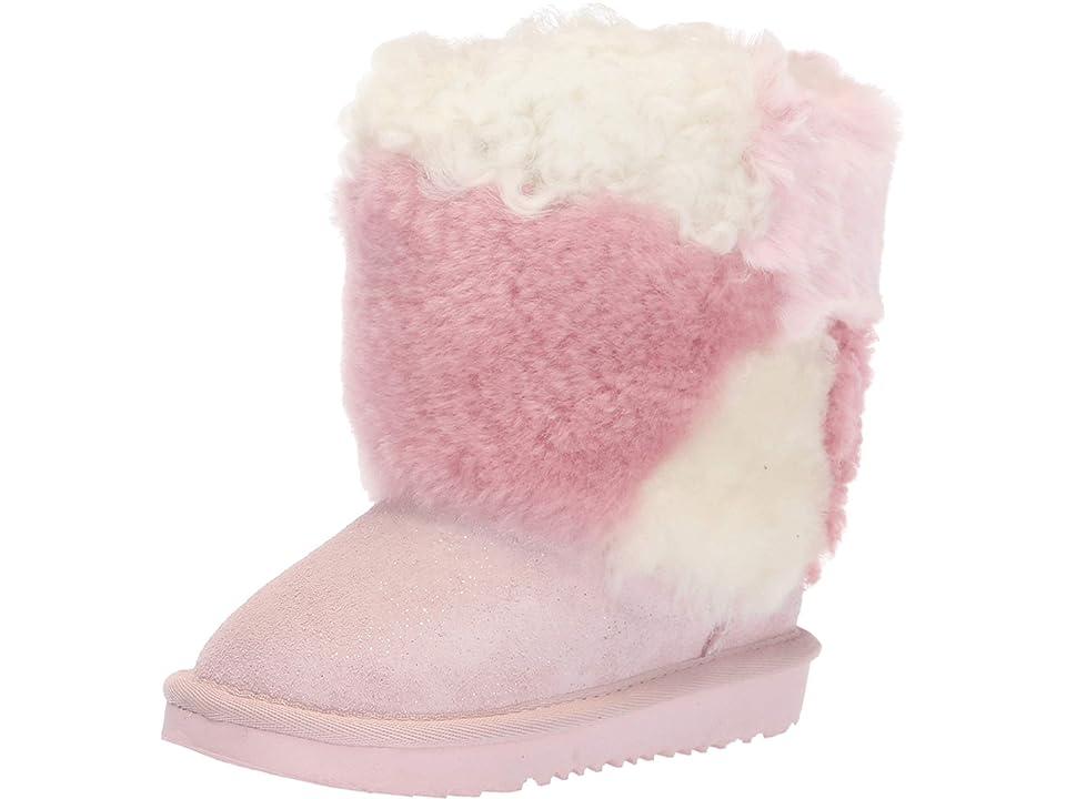 UGG Kids Classic Short Patchwork Fluff (Toddler/Little Kid) (Baby Pink) Girls Shoes