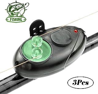 Fishing Bait Alarms, Electronic Fishing Alarm Fish Bite Alarm with LED Light Sound Alarm Wireless Sound Alarm Outdoor Buzzer (3 Pack)