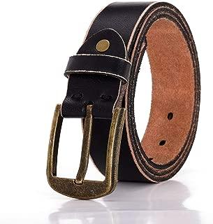 Men's Leather Belt Black Heavy Duty With Single Buckle For Jean Dress