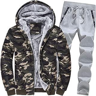 DaiHan Uomo Felpe Giacche Invernali Caldo Tuta Cappotto Sweatshirt e Pantaloni 2 Pezzi Set
