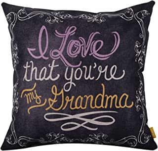 LINKWELL 18inches Square Black I Love That You are My Grandma Linen Throw Pillow Case Cushion Cover