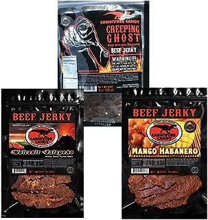 "HEAT Variety 3 pk ""Creeping Ghost"" Carolina Reaper - Volcanic Jalapeño & Mango Habanero Beef Jerky Three -3oz Bags"