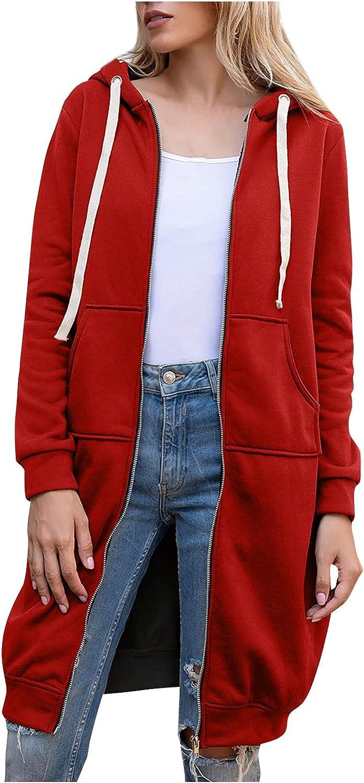 Forwelly Winter Oversize Sweatshirt Jacket for Women Fashion Plain Zipper Long Coat Hooded Top Outwear