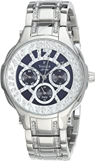 Venice SV4012-IPS-BL Stainless Steel Stones Embellished Navy-Dial Round Analog Watch for Women - Silver