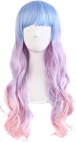 "MapofBeauty 28"" Wavy Multi-Color Lolita Cosplay Wig Party Wig (Light Blue/Light Purple/Pink)"