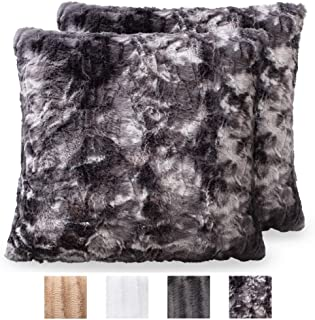The Connecticut Home Company Original Faux Fur Pillowcases, Set of 2 Decorative Case Sets, Throw Pillow Covers, Luxury Soft Cases for Bedroom, Living Room, Sofa, Couch, Bed, 18x18, Tie Dye Gray