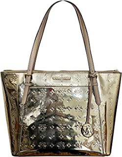 Michael Kors Ciara Large Top Zip Mirror Metallic Tote
