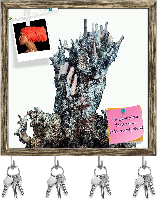 Artzfolio Surreal Girl Face Hidden Key Holder Hooks   Notice Pin Board   Antique golden Frame 20 X 20Inch