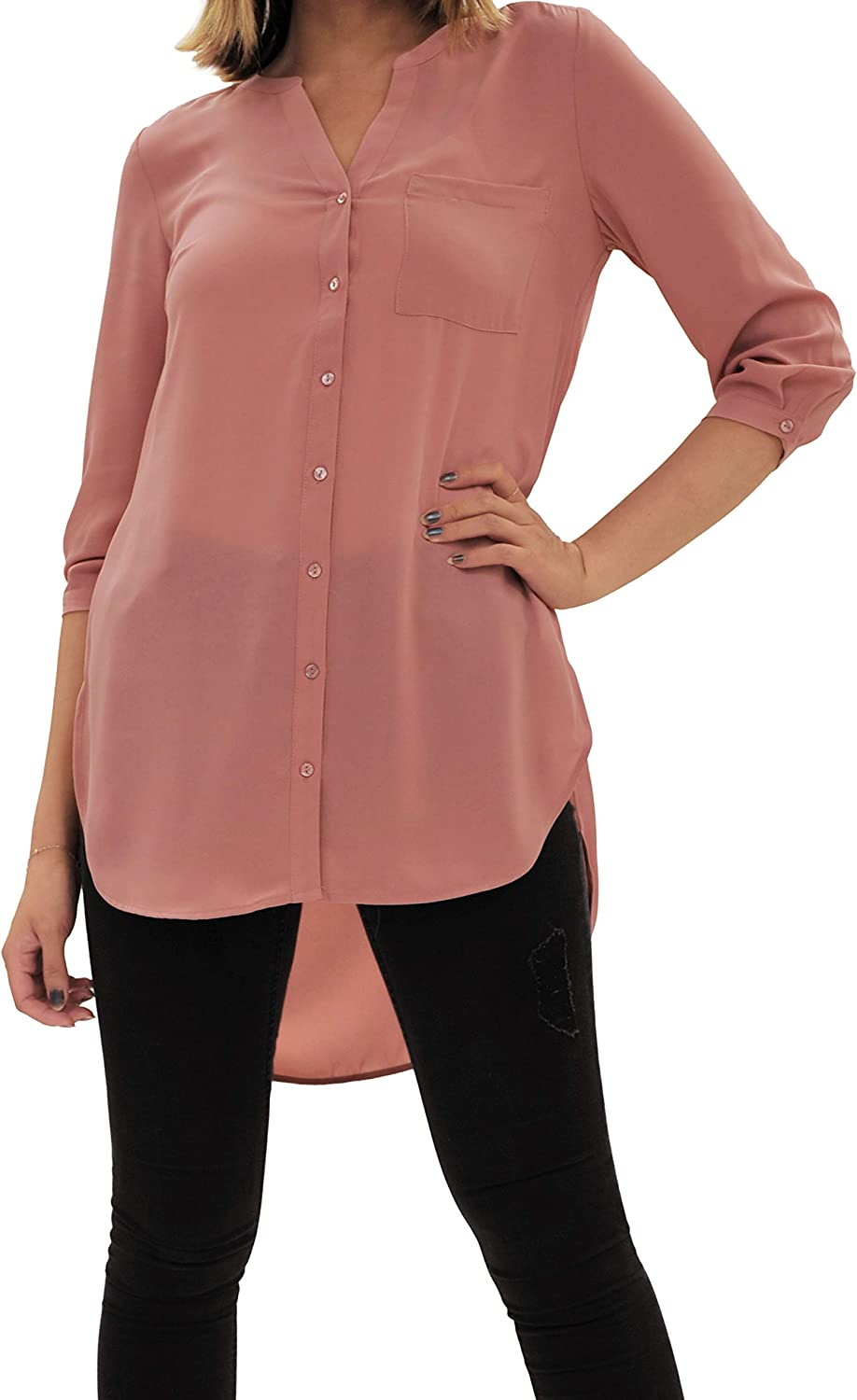 DR2 by Daniel Rainn Women's Button Down V Neck Tops ¾ Long Sleeve Two Way Wear Tie Knot Front Shirts Blouses