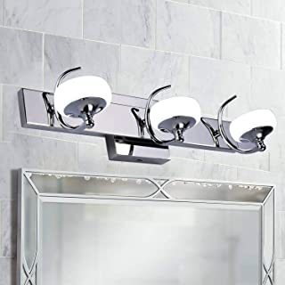SUNVP 3-Light LED Bathroom Vanity Light Fixtures, Stainless Steel Wall Sconce with White Frosted Glass Shade (Cool White)