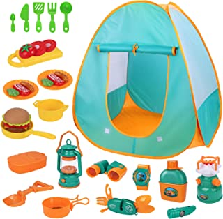 iYoYo Kids Camping Play Tent Set 30pcs Kids Camping Gear Tools with Play Kitchen Food Set, Indoor Outdoor Pretend Play Toy...