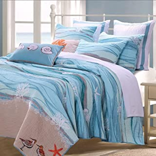 Coastal Seaside Cottage Quilt Set with Shams Sea Shell Print Pattern Ocean Blue 100 Cotton Luxury Reversible 3 Piece King Size Bedding - Includes Bed Sheet Straps