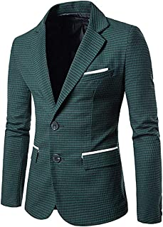 Allthemen Mens Casual Suits Blazer Houndstooth Smart Blazer Single Breasted Checked Suit Jackets Vintage Fashion Coats Tops