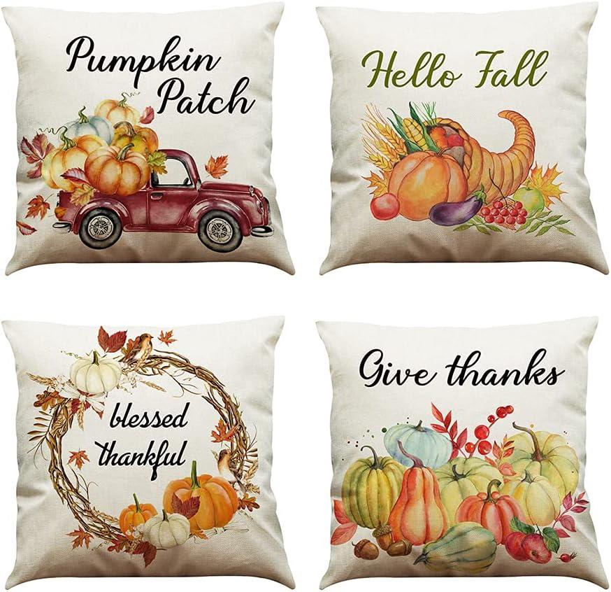 MIUINCY Fall Pillow Covers 18 x 18 Inch, Hello Fall Pumpkin Farmhouse Theme Autumn Pillowcase Thanksgiving Throw Pillow Covers Set of 4 for Home Sofa Couch Fall Decor