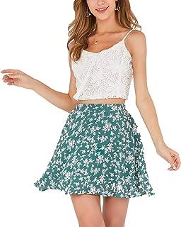 Women's Basic A-line Floral Print Pleated Mini Short Skirts