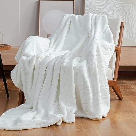 "Cozy Bliss Plush Blanket Textured Waterwave Blanket Super Soft Cozy Luxury Plush Throw Blanket Fluffy Anti-Static 320gsm for Sofa Bed Travel (Waterwave-Cream, Throw 50""x60"")"