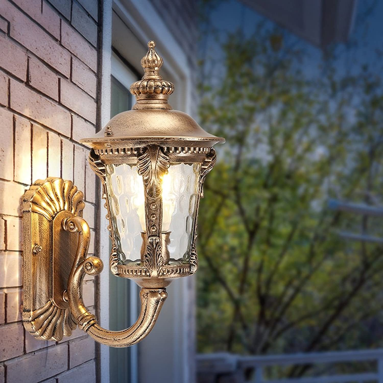 Modeen Continental Antique Victoria 2-Leuchten Glas Laterne Wandleuchte Vintage Aluminium Bronze E27 Dekoration Im Freien Wasserdichte Wandleuchte LED Hof Gang Korridor Post Wandleuchte