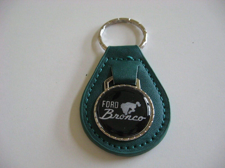 1966-1996 BRONCO HORSE LOGO EMBLEM VINTAGE KEYCHAIN - TEAL