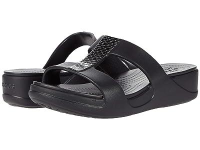 Crocs Monterey Metallic Slip-On Wedge (Dark Charcoal/Black) Women