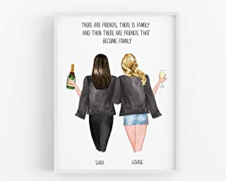 Personalised Friend Gift,Birthday gift for her Keepsake Friendship Print,Best Friends Present,Customisable Hair,Clothing,Drinks UNFRAMED 5x7,A5,8x10,A4,A3