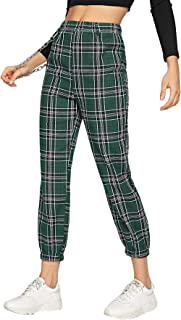 Milumia Women's Casual Mid Waist Plaid Zip Side Pants