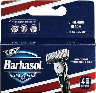 Barbasol Ultra 6 Plus Manual Men's Razor Blade Refills, 4 Count