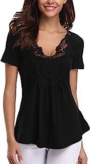 MISS MOLY Shirt Damen Kurzarm Tiefer V-Ausschnitt Oberteil Bluse Sexy Tunika T-Shirt