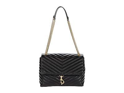 Rebecca Minkoff Edie Flap Shoulder Bag (Black 3) Handbags