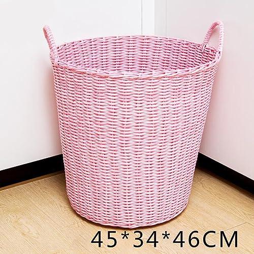 CHENGYI Rosa handgemachte Plastikweberei schmutzige Kleidung-Korb-Webart-Kasten Rattan-schmutziger Korb-Aufbewahrungsbeh er-F er-Qualitäts-PVC-Material (Größe   45  34  46cm)