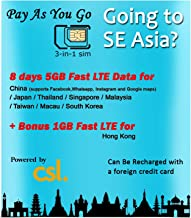 Super SE Asia Roaming SIM by CSL 5GB + (1GB Hong Kong only) Fast 4G Data to use in China, Japan, Thailand, Singapore, Malaysia, Taiwan, Macau, and South Korea Over 8 Days. Ideal for The Canton FAIRS!