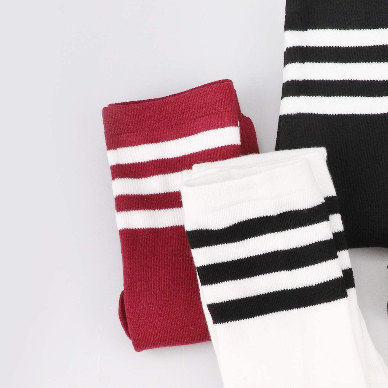 DRESHOW 3 Pairs High Thigh Socks Striped Over Knee Thin Tights Long Stocking Knee High Leg Warmer