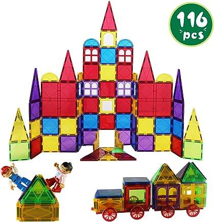 Romboss 116Pcs Magnetic Tiles Set Includes 2 Toy People 2 Cars STEM 3D Magnets Building Blocks Preschool Educational Construction Toys for Toddler&Kids