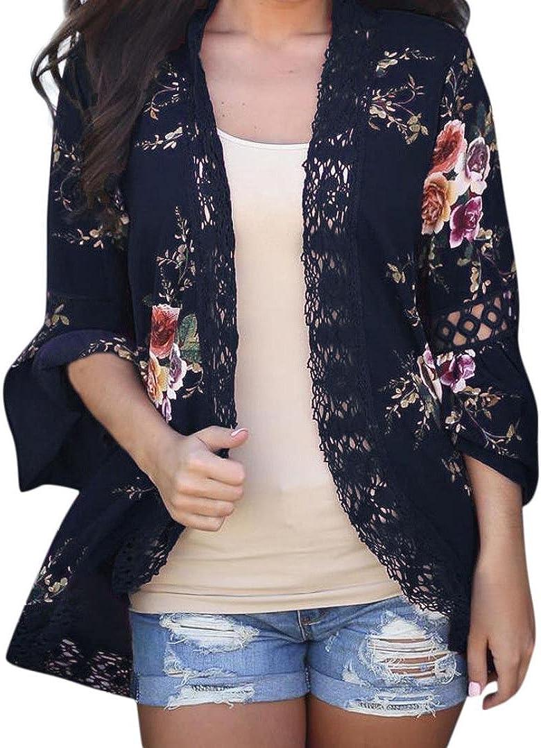 DEELIN CáRdigan Floral De Encaje para Mujer Blusa Suelta Blusa Suelta CáRdigan De Blusa Kimono