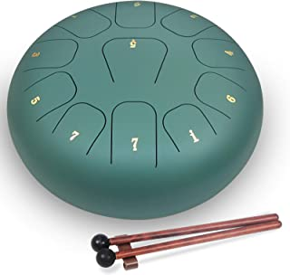 SONGZO Steel Tongue Drum 12 Inch 11 Notes Hand Drum C Key Percussion Instrument with Mallets Carry Bag for Meditation Yoga...