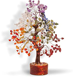 Seven Chakra Natural Healing Gemstone Crystal Bonsai Fortune Money Tree for Good Luck, Wealth & Prosperity-Home Office Dec...