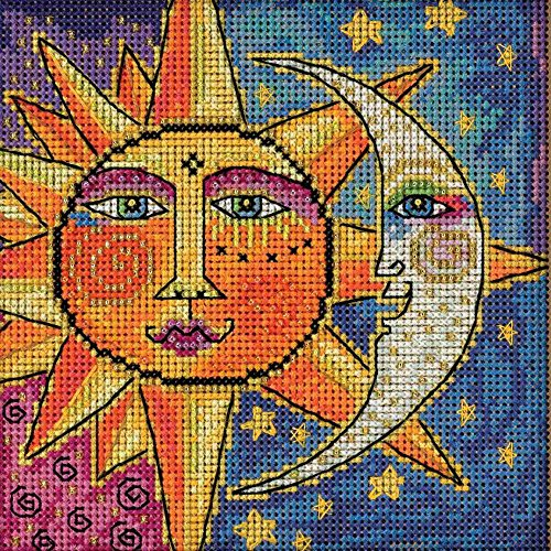 Mill Hill Sister Sun Brother Moon Beaded Counted Cross Stitch Kit 2018 Laurel Burch Celestial Collection LB141811 (Moon Designs Counted Cross Stitch)