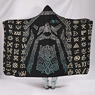 Dewawa Viking Man DesignName Hooded Blanket Oversized Wearable Throw Blankets Coral Fleece Cloak Cape for Home Sofa Bed Winter Spring White 60x80 inch