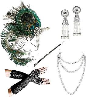 1920s Accessories Headband Necklace Gloves Cigarette Holder Flapper Costume Accessories Set for Women