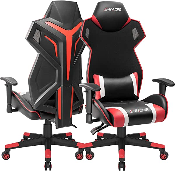 Homall Gaming Chair Racing Style Office Chair High Back Computer Desk Chair Ergonomic Swivel Chair Breathable Back Bucket Seat Chair With Adjustable Armrest 1 Pack Red