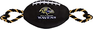 NFL BALTIMORE RAVENS Football Dog Toy, Tough Nylon Quality Materials with Strong Pull Ropes & inner SQUEAKER in NFL Team C...