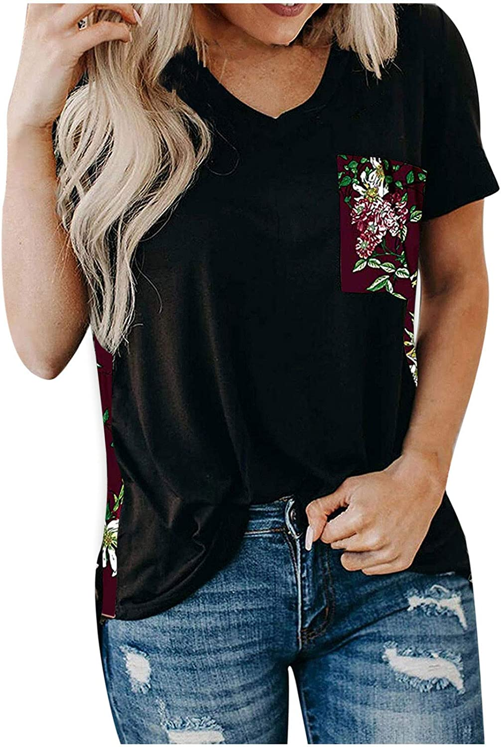Aukbays T-Shirts for Women Womens Short Sleeve O Neck Pachwork Print T Shirts Loose Casual Summer Tops Tees with Pocket
