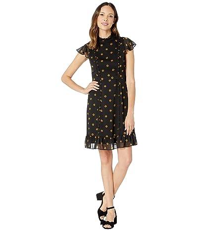 Adrianna Papell Daisy Dot Chiffon Ruffled A-Line Dress (Yellow/Black) Women