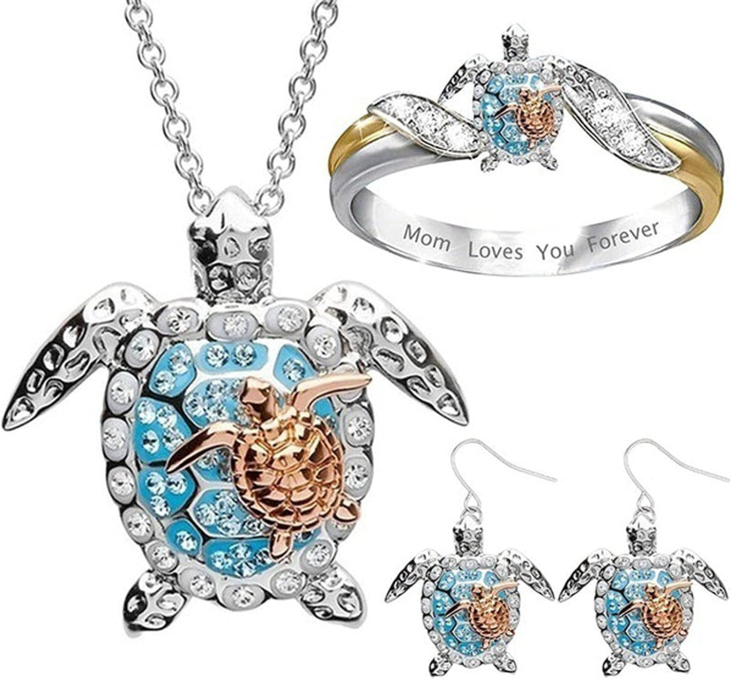 Parodais Jewelry Sets for Women, Ladies Necklace Turtle Animal Necklace 1 Ring 1 Necklace and 1 Pair of Earrings