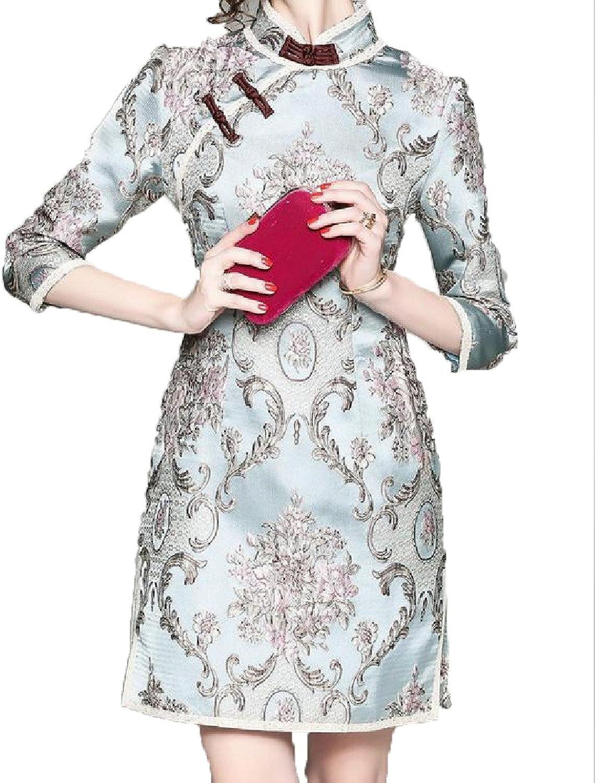 Yayun Yayu Women 3 4 Sleeve Stand Collar Digital Print Cut Out Cheongsam