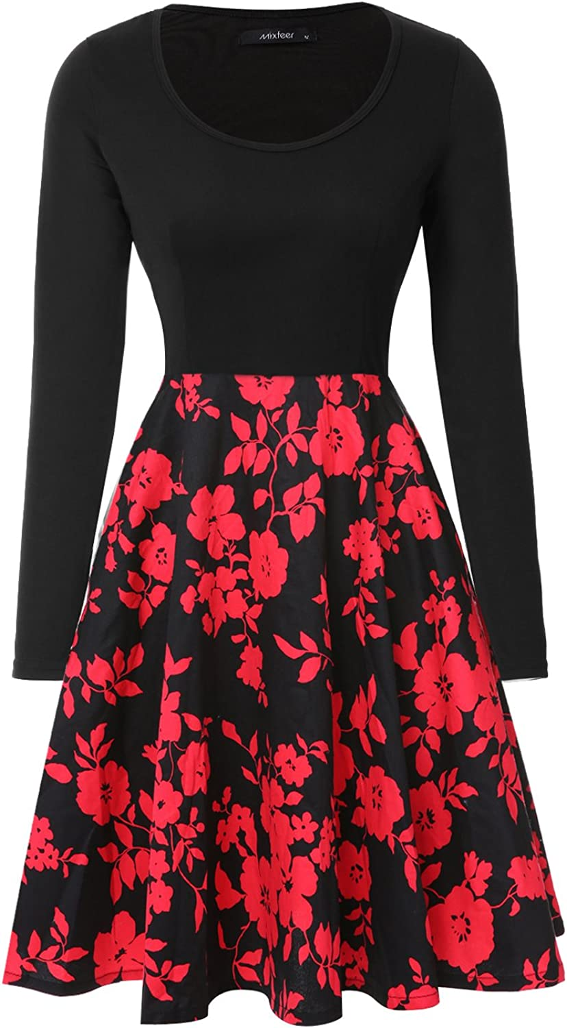 Womens Vintage Midi Dress Floral Long Sleeve A-line Cocktail Party Swing Dress with Pockets