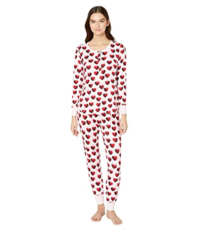 Kate Spade New York Brushed Jersey Jogger Long Pajama Set (Double Hearts) Women