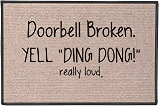 SIGNALS Doorbell Broken Yell Ding Dong! Really Loud Doormat - Weather Resistant
