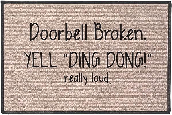 SIGNALS Doorbell Broken Yell Ding Dong Really Loud Doormat Weather Resistant