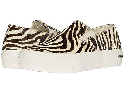 SeaVees Baja Slip-On Platform Printed Cowhide (Zebra) Women